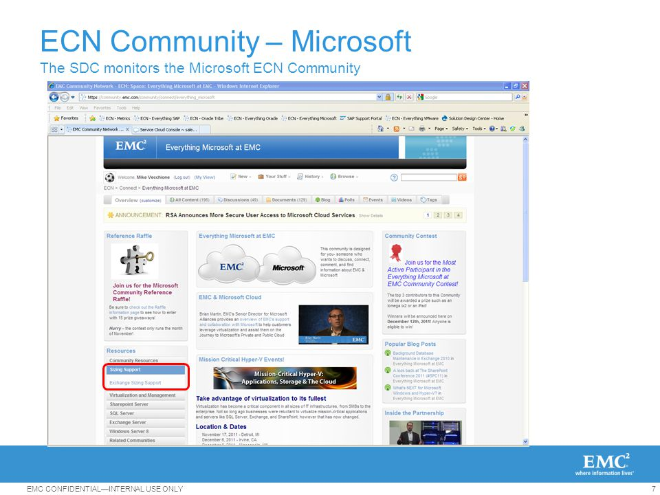 7EMC CONFIDENTIAL—INTERNAL USE ONLY ECN Community – Microsoft The SDC monitors the Microsoft ECN Community