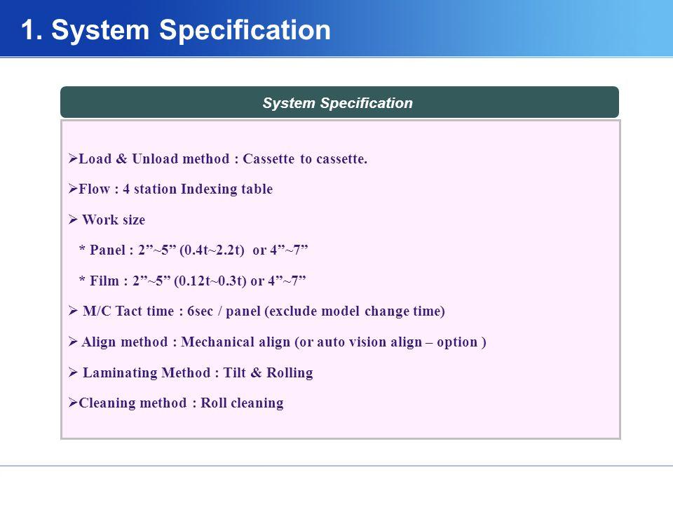 System Specification  Load & Unload method : Cassette to cassette.
