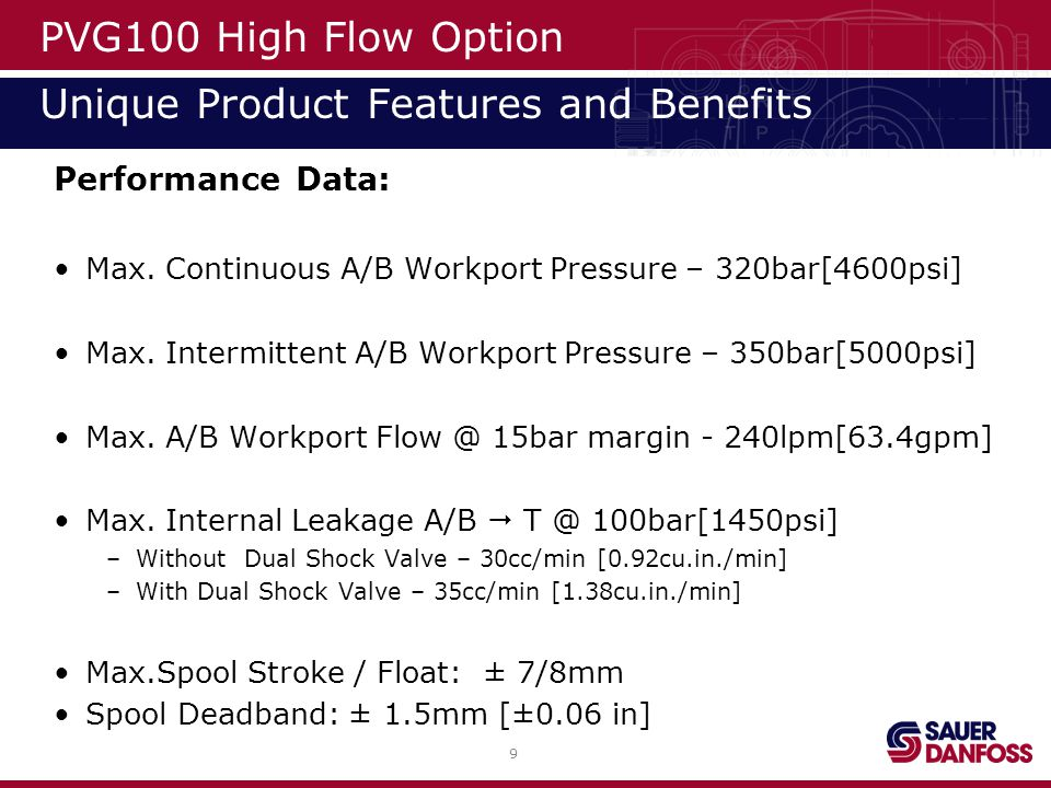 10 High Flow PVB PVG100 High Flow Option Unique Product Options PVB includes standard PVM and PVE interface plates.