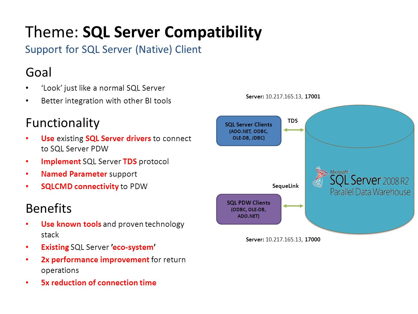 Theme: SQL Server Compatibility Support for SQL Server (Native) Client Goal 'Look' just like a normal SQL Server Better integration with other BI tool
