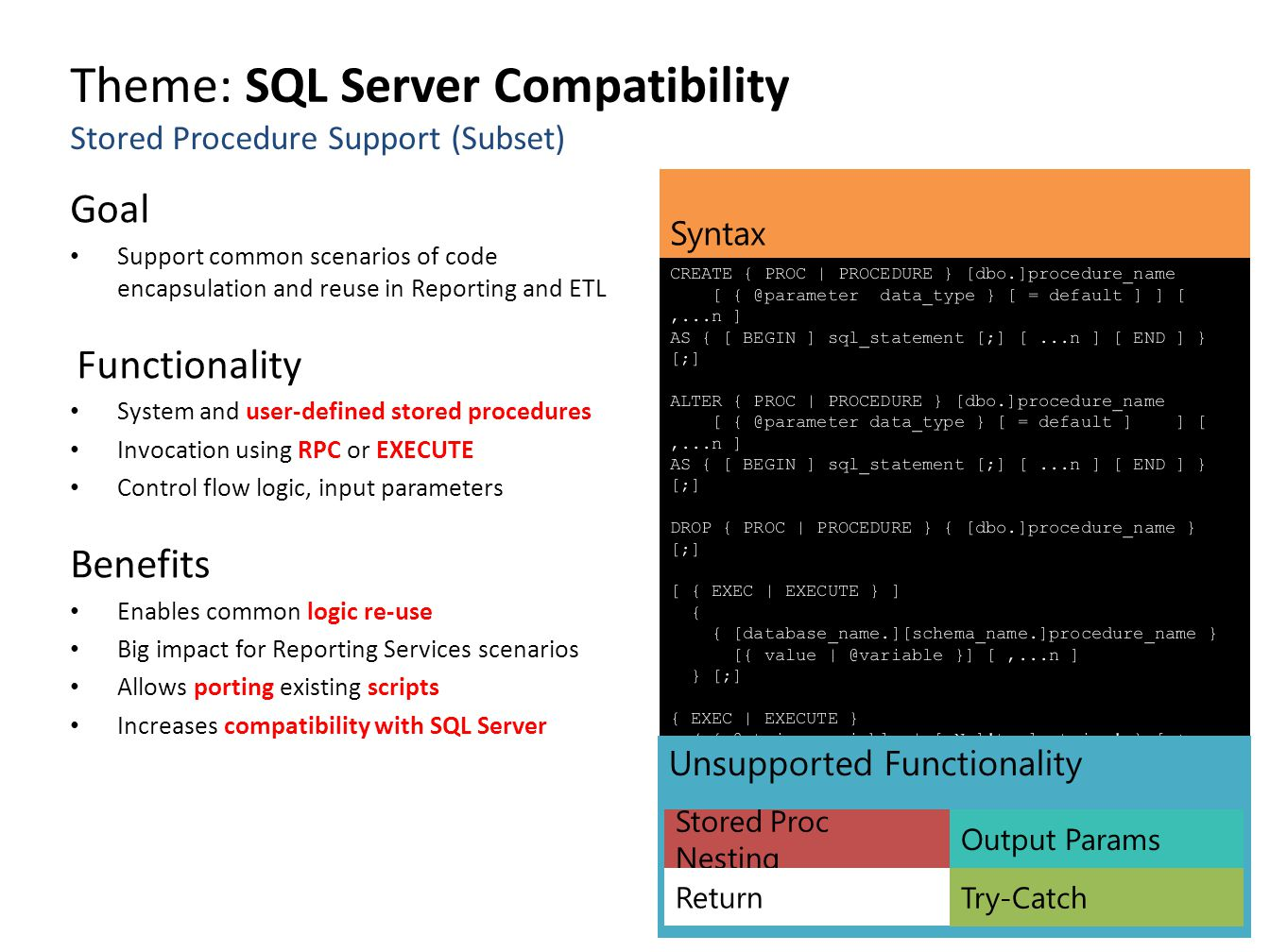 Theme: SQL Server Compatibility Stored Procedure Support (Subset) Goal Support common scenarios of code encapsulation and reuse in Reporting and ETL F