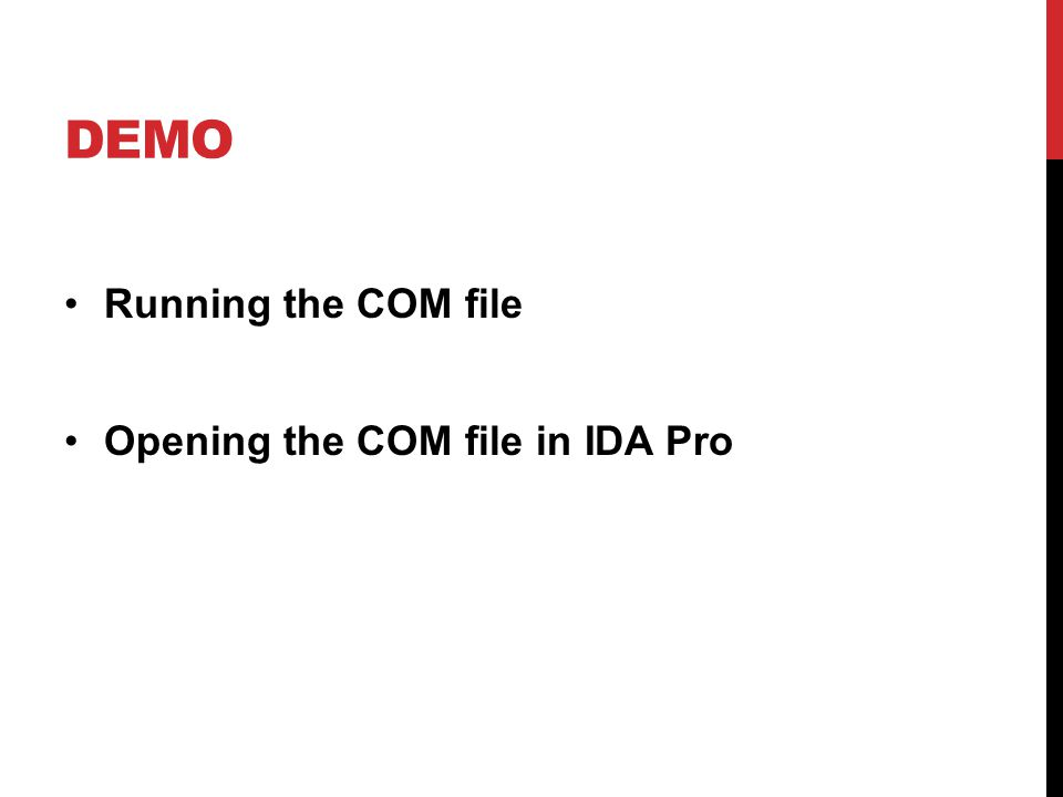 DEMO Running the COM file Opening the COM file in IDA Pro