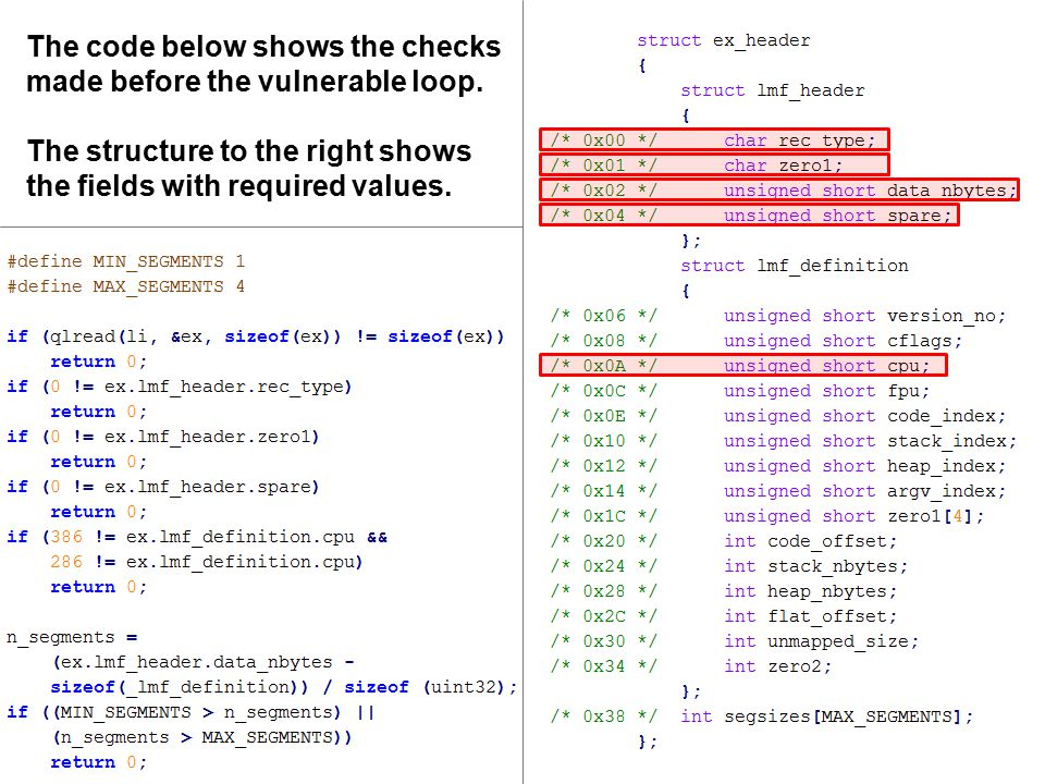 The code below shows the checks made before the vulnerable loop.