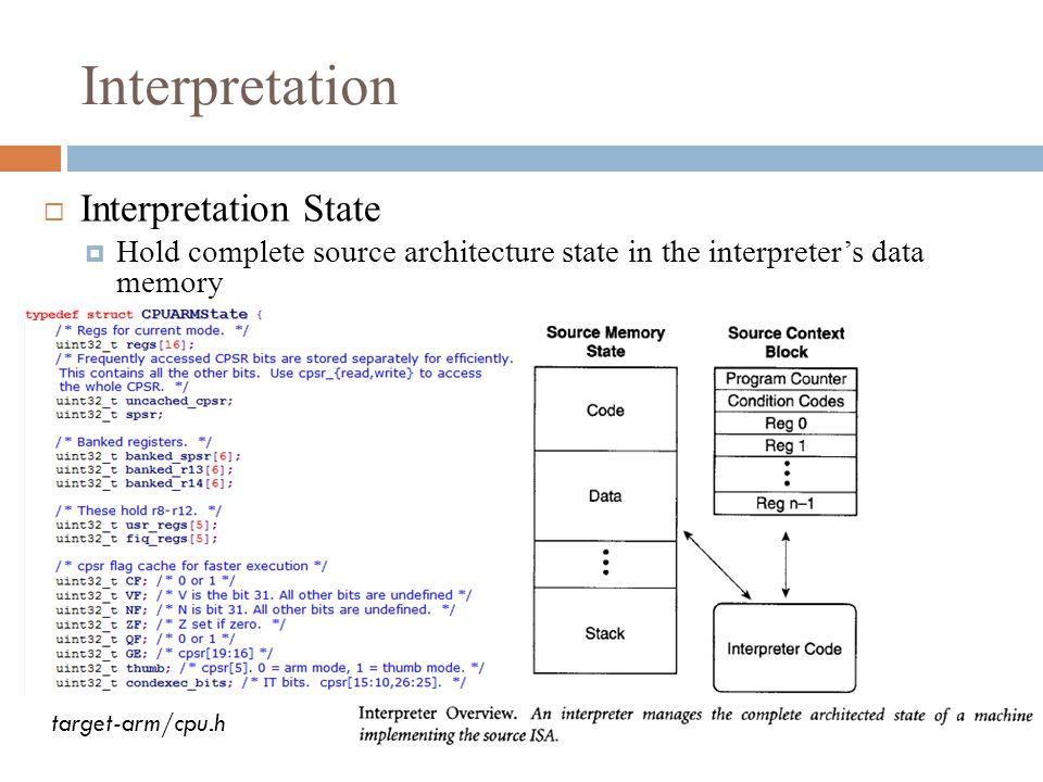 Interpretation  Interpretation State  Hold complete source architecture state in the interpreter's data memory target-arm/cpu.h