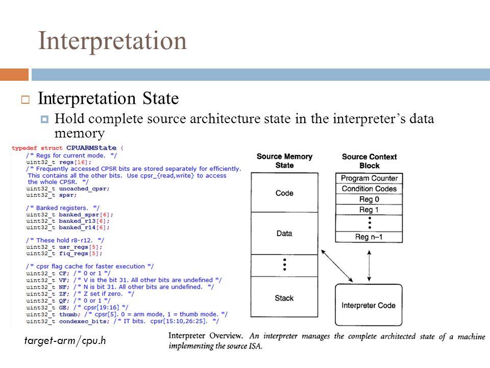Interpretation  Interpretation State  Hold complete source architecture state in the interpreter's data memory target-arm/cpu.h