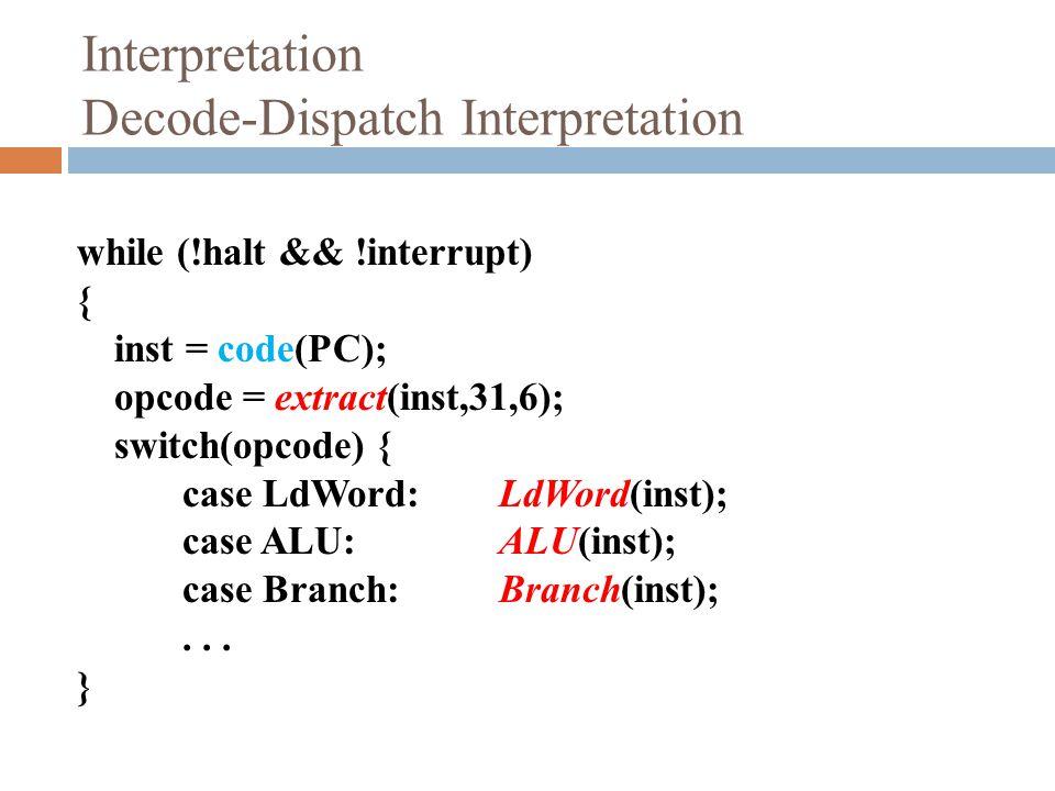 Interpretation Decode-Dispatch Interpretation while (!halt && !interrupt) { inst = code(PC); opcode = extract(inst,31,6); switch(opcode) { case LdWord:LdWord(inst); case ALU: ALU(inst); case Branch: Branch(inst);...