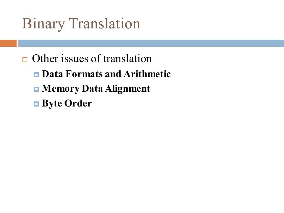 Binary Translation  Other issues of translation  Data Formats and Arithmetic  Memory Data Alignment  Byte Order