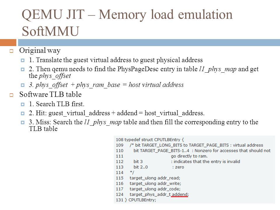 QEMU JIT – Memory load emulation SoftMMU  Original way  1.