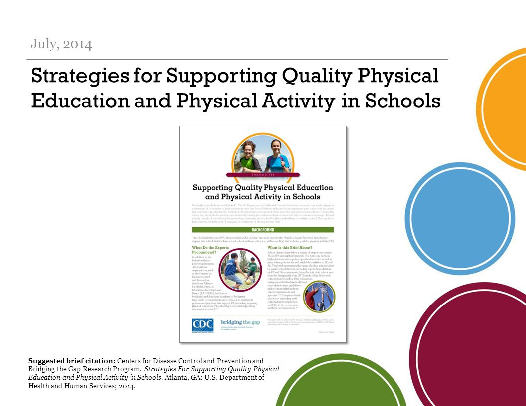 Strategies for Supporting Quality Physical Education and Physical Activity in Schools July, 2014 Suggested brief citation: Centers for Disease Control and Prevention and Bridging the Gap Research Program.