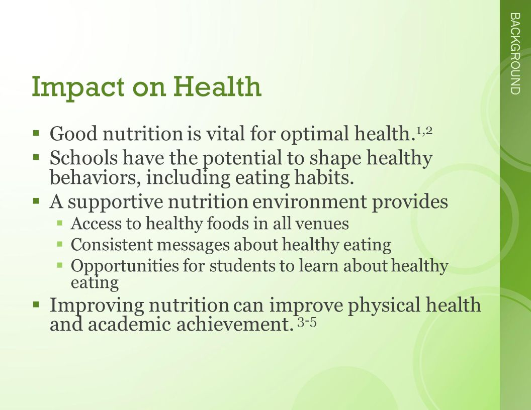 BACKGROUND Impact on Health  Good nutrition is vital for optimal health.