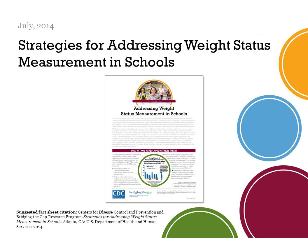 Strategies for Addressing Weight Status Measurement in Schools July, 2014 Suggested fact sheet citation: Centers for Disease Control and Prevention and Bridging the Gap Research Program.
