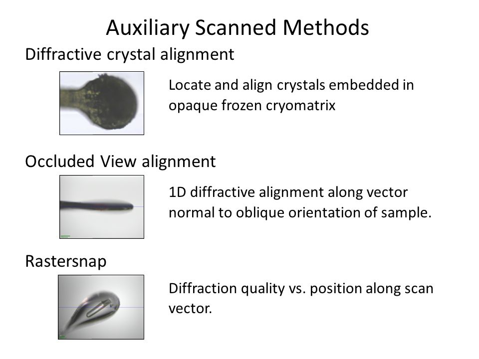 Auxiliary Scanned Methods Diffractive crystal alignment Locate and align crystals embedded in opaque frozen cryomatrix Occluded View alignment 1D diffractive alignment along vector normal to oblique orientation of sample.