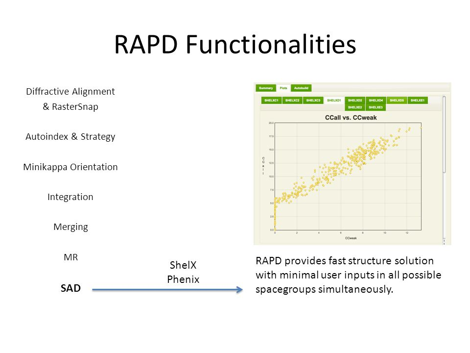 RAPD Functionalities Diffractive Alignment & RasterSnap Autoindex & Strategy Minikappa Orientation Integration Merging MR SAD ShelX Phenix RAPD provides fast structure solution with minimal user inputs in all possible spacegroups simultaneously.