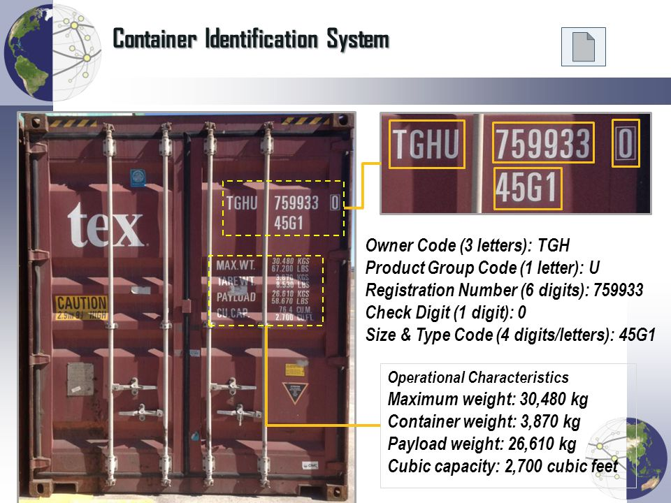 Container Identification System Owner Code (3 letters): TGH Product Group Code (1 letter): U Registration Number (6 digits): 759933 Check Digit (1 dig