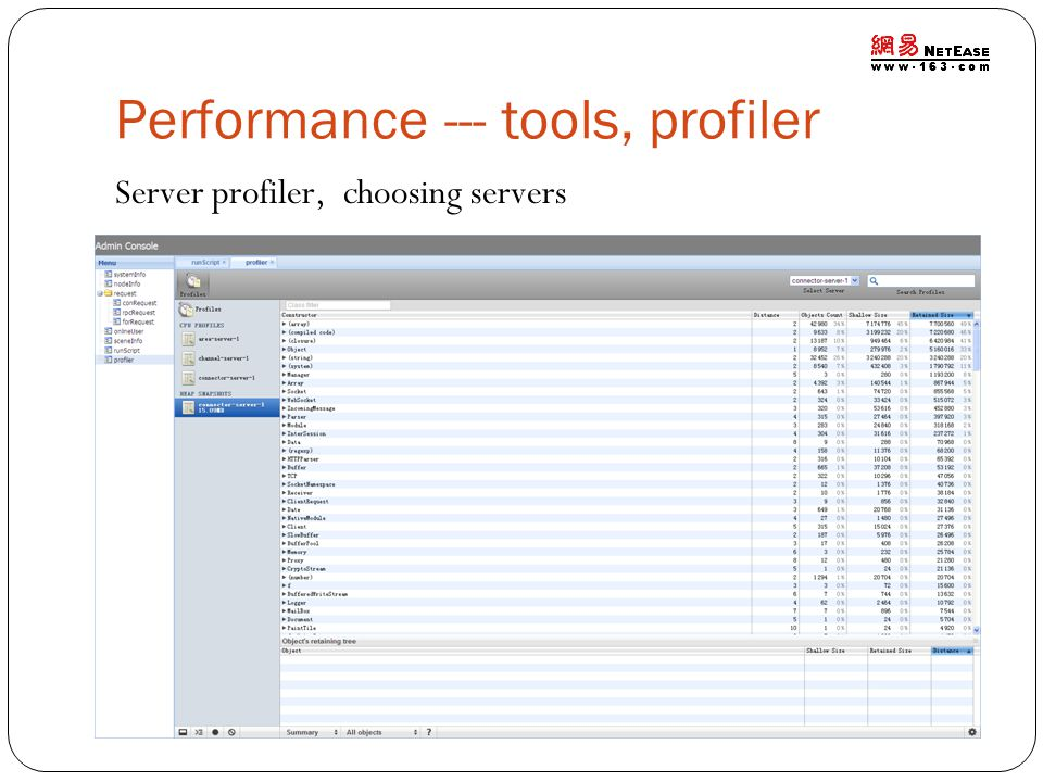Performance --- tools, profiler Server profiler, choosing servers
