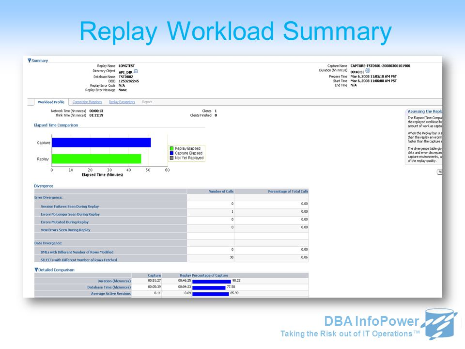 Taking the Risk out of IT Operations™ DBA InfoPower Replay Workload Summary