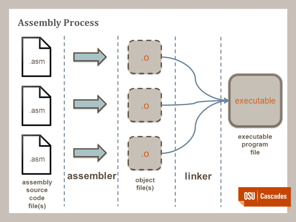 Assembly Process.asm assembler.o linker executable assembly source code file(s) object file(s) executable program file