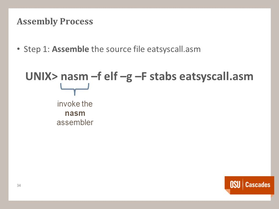 Assembly Process Step 1: Assemble the source file eatsyscall.asm UNIX> nasm –f elf –g –F stabs eatsyscall.asm 34 invoke the nasm assembler