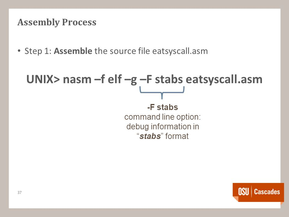Assembly Process Step 1: Assemble the source file eatsyscall.asm UNIX> nasm –f elf –g –F stabs eatsyscall.asm 37 -F stabs command line option: debug information in stabs format