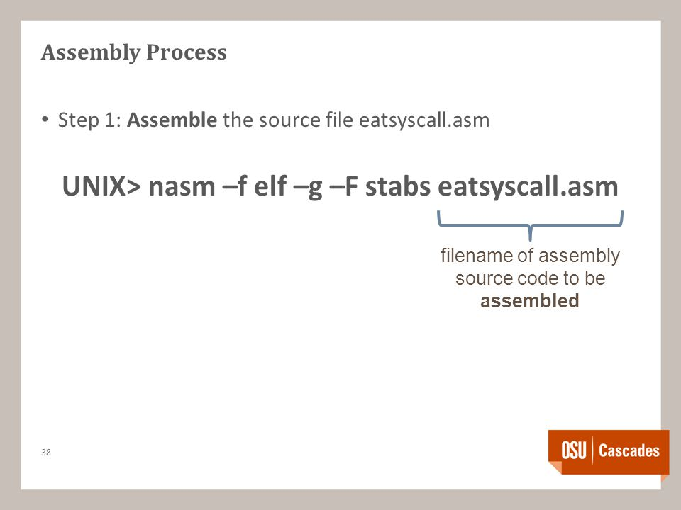 Assembly Process Step 1: Assemble the source file eatsyscall.asm UNIX> nasm –f elf –g –F stabs eatsyscall.asm 38 filename of assembly source code to be assembled