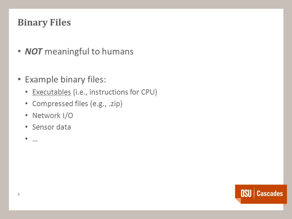 Binary Files NOT meaningful to humans Example binary files: Executables (i.e., instructions for CPU) Compressed files (e.g.,.zip) Network I/O Sensor data … 4