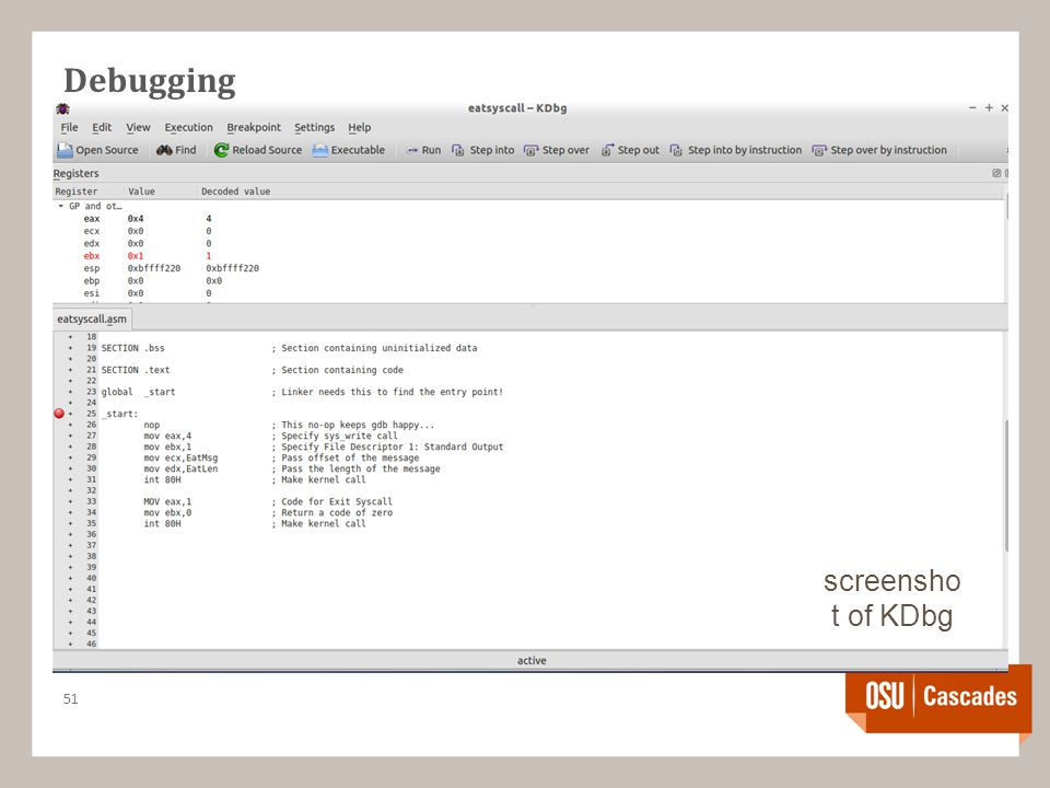 Debugging 51 screensho t of KDbg