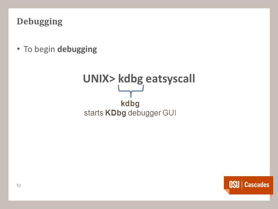 Debugging To begin debugging UNIX> kdbg eatsyscall 52 kdbg starts KDbg debugger GUI