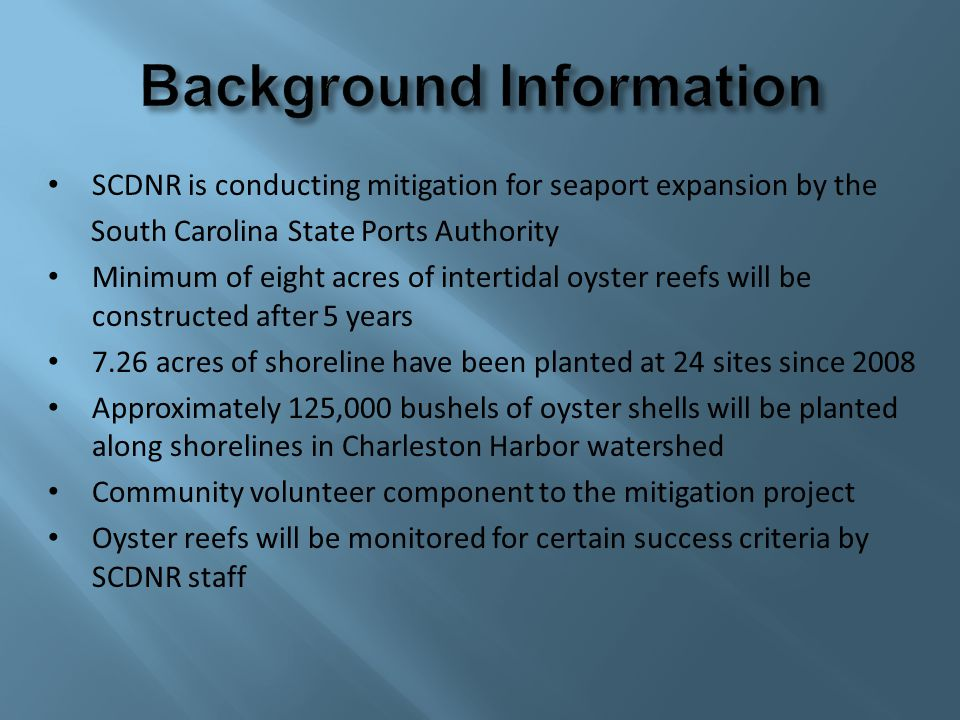 SCDNR is conducting mitigation for seaport expansion by the South Carolina State Ports Authority Minimum of eight acres of intertidal oyster reefs wil
