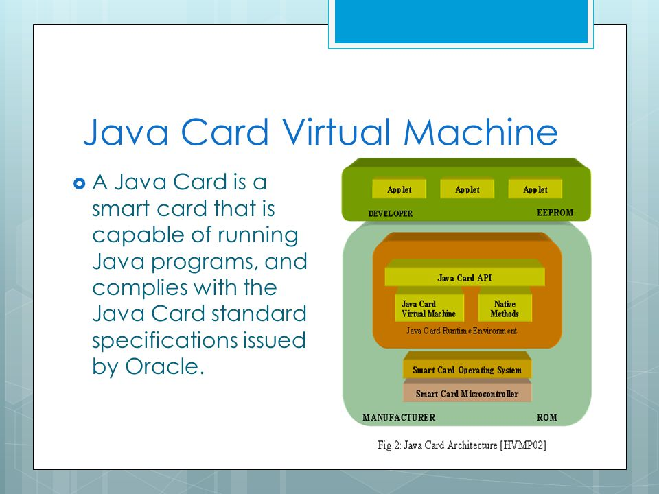 Java Card Virtual Machine  A Java Card is a smart card that is capable of running Java programs, and complies with the Java Card standard specifications issued by Oracle.
