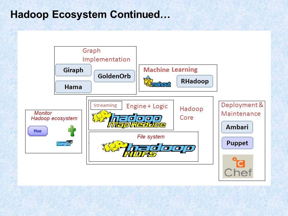 Hadoop Ecosystem Continued… 12