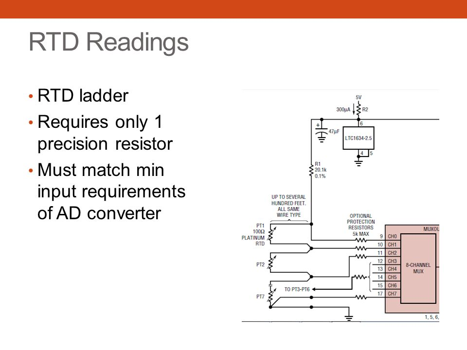 RTD Readings RTD ladder Requires only 1 precision resistor Must match min input requirements of AD converter