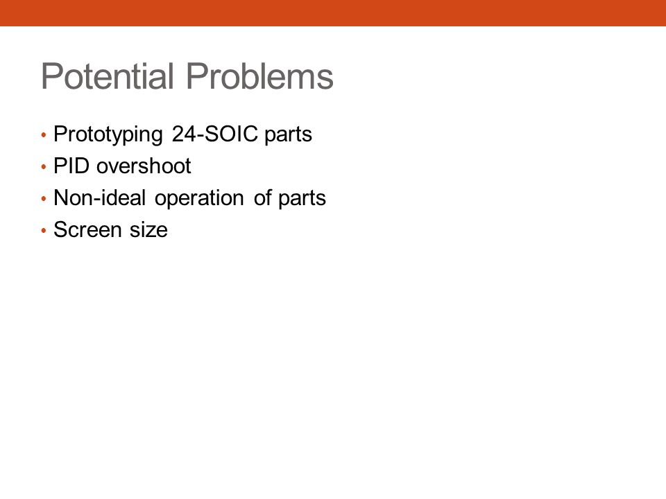 Potential Problems Prototyping 24-SOIC parts PID overshoot Non-ideal operation of parts Screen size