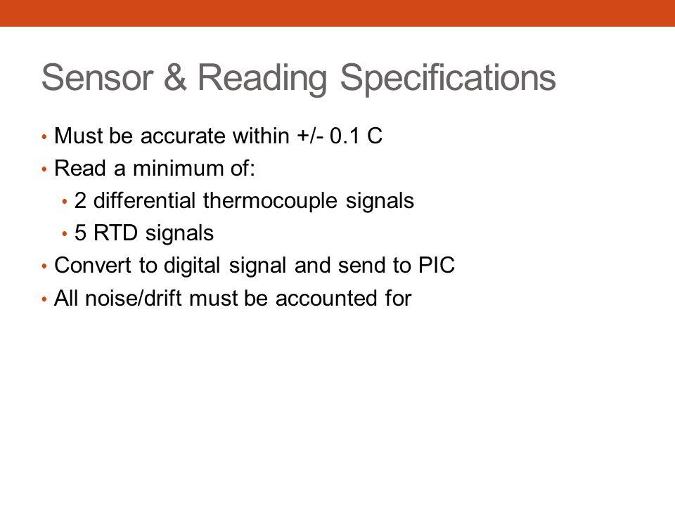Sensor Types Thermocouples Type S 20 ⁰ C min 1300 ⁰ C max 0.1107 mV to 13.17 mV Cavity source Type T -30 ⁰ C min 400 ⁰ C max -1.21 mV to 20.87 mV Extended area source RTDs PT100 -30 ⁰ C min 400 ⁰ C max Extended area source: 88.22 Ω to 247.09 Ω Cold junction comp: 100 Ω to 123.24 Ω