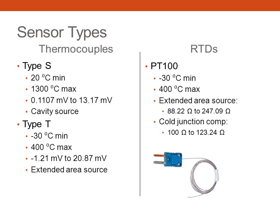 Sensor Types Thermocouples Type S 20 ⁰ C min 1300 ⁰ C max 0.1107 mV to 13.17 mV Cavity source Type T -30 ⁰ C min 400 ⁰ C max -1.21 mV to 20.87 mV Exte