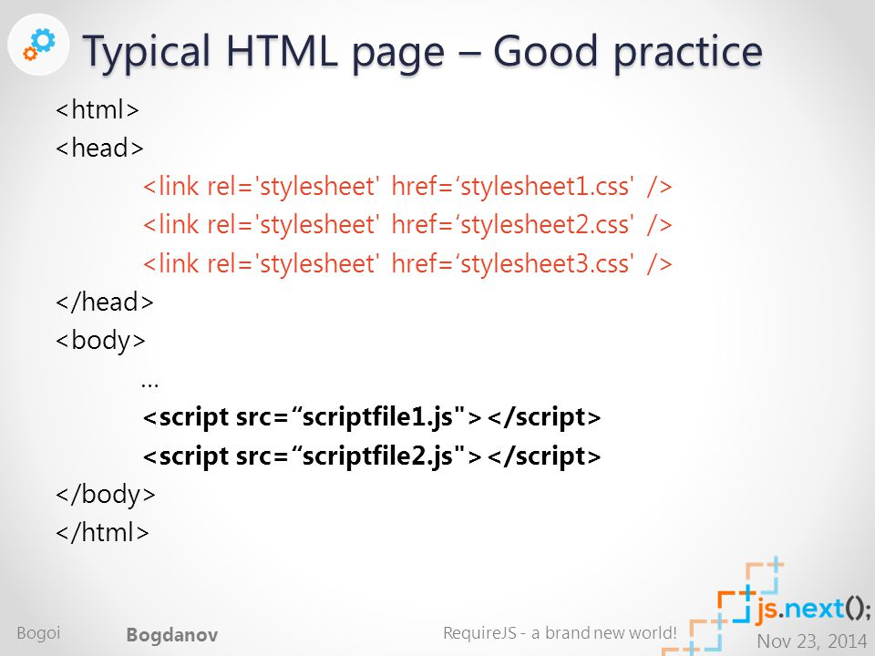 Nov 23, 2014 Typical HTML page – Good practice … Bogoi Bogdanov RequireJS - a brand new world!
