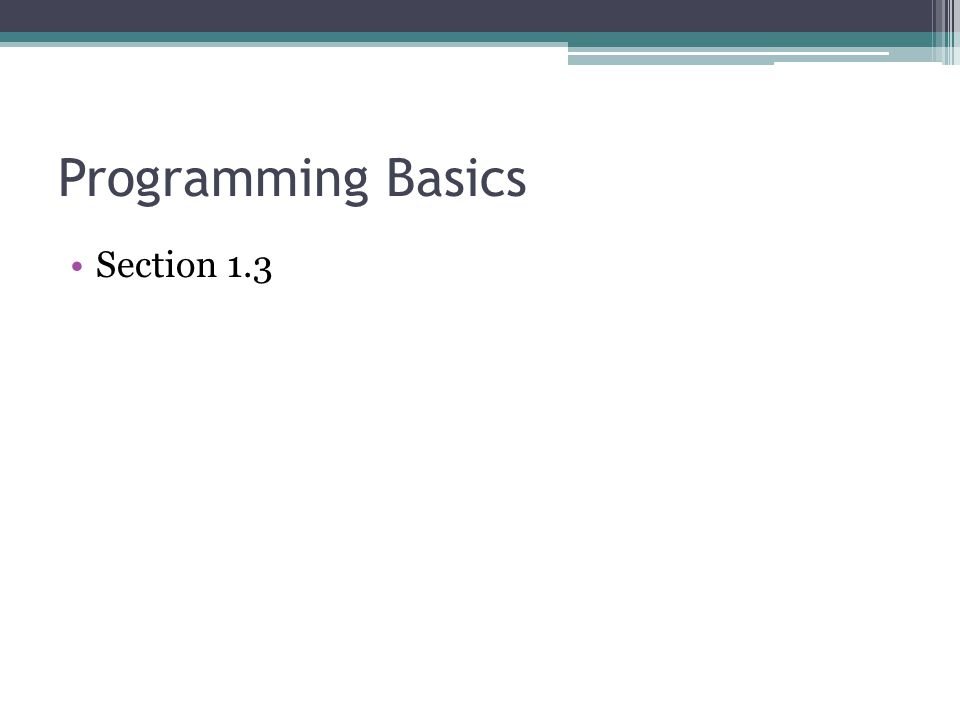 Programming Basics Section 1.3