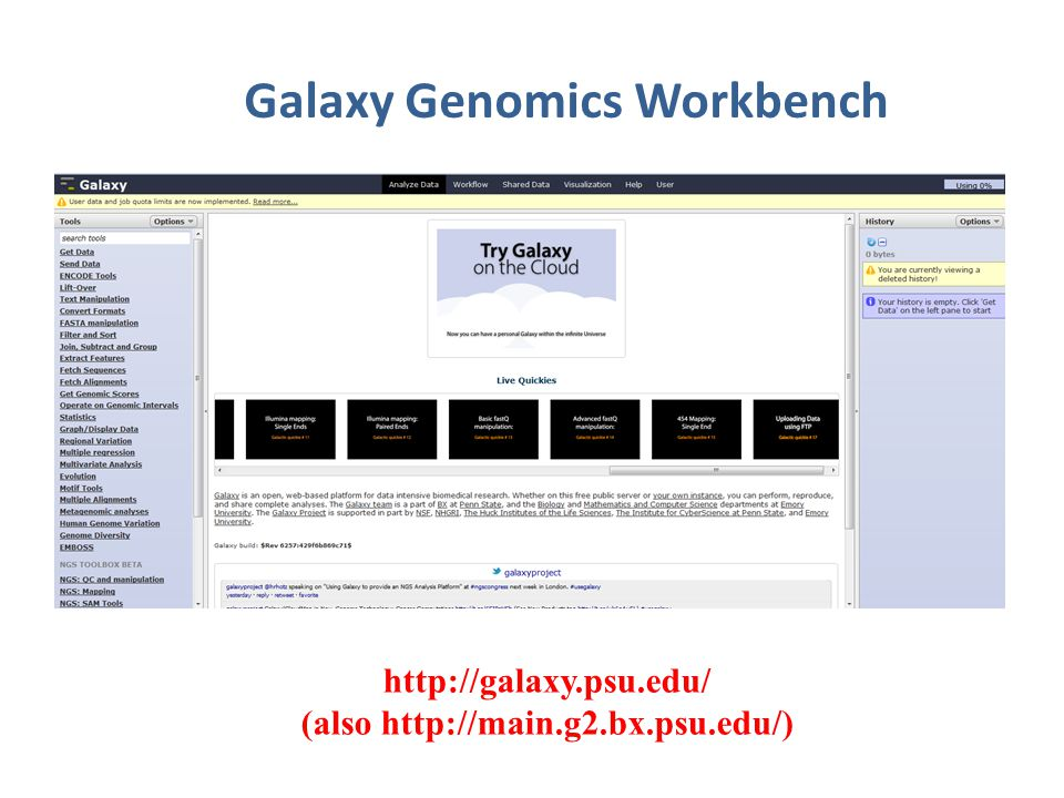 Galaxy Genomics Workbench http://galaxy.psu.edu/ (also http://main.g2.bx.psu.edu/)