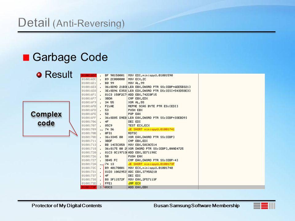 Protector of My Digital Contents Busan Samsung Software Membership Garbage Code Result Complex code