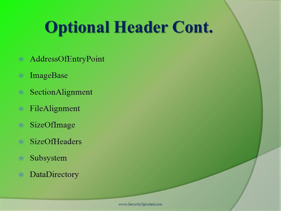 Optional Header Cont.