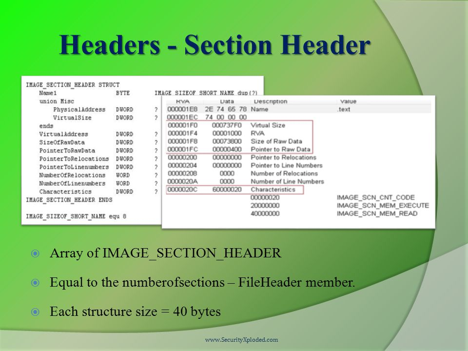 Headers - Section Header  Array of IMAGE_SECTION_HEADER  Equal to the numberofsections – FileHeader member.