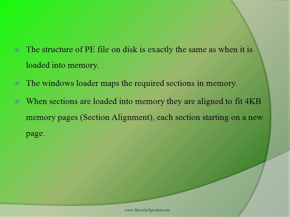  The structure of PE file on disk is exactly the same as when it is loaded into memory.