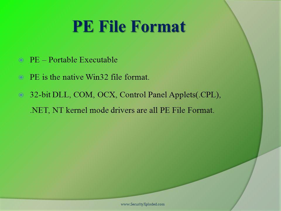 PE File Format  PE – Portable Executable  PE is the native Win32 file format.