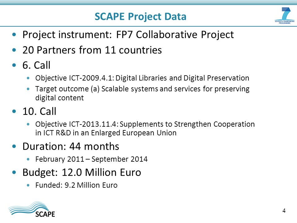 SCAPE Project Data Project instrument: FP7 Collaborative Project 20 Partners from 11 countries 6.