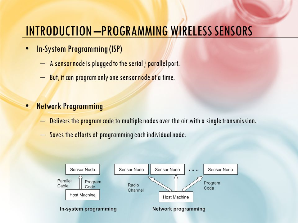 INTRODUCTION –PROGRAMMING WIRELESS SENSORS In-System Programming (ISP) – A sensor node is plugged to the serial / parallel port.