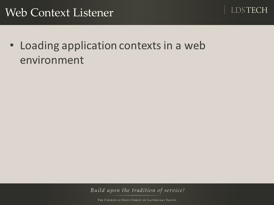 Web Context Listener Loading application contexts in a web environment