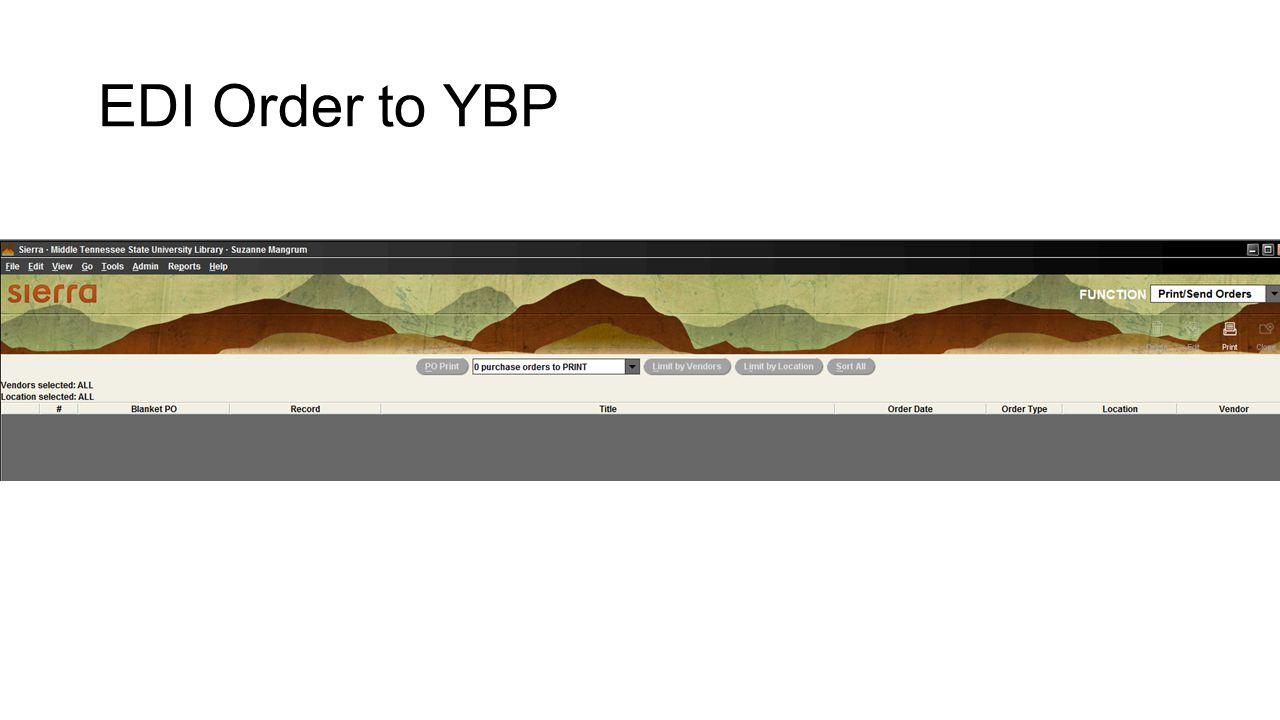 EDI Order to YBP