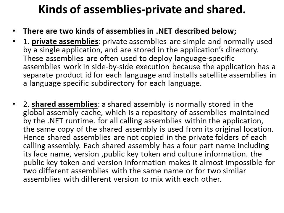 Kinds of assemblies-private and shared.