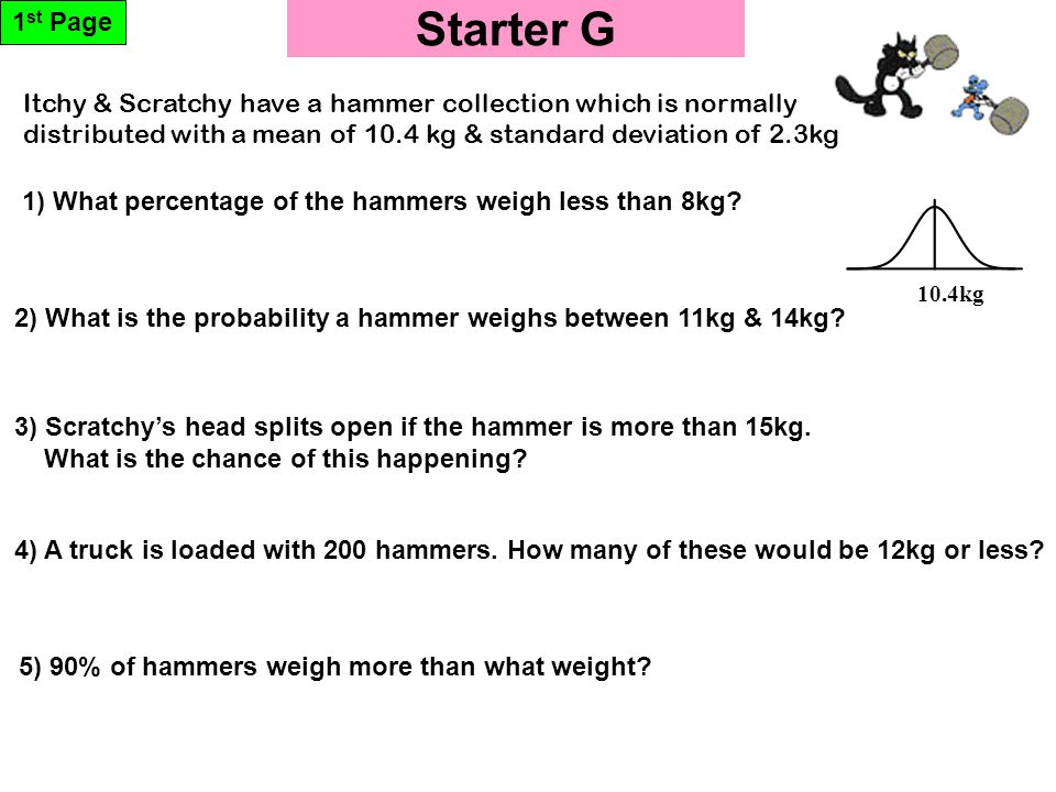 Starter G 1 st Page 10.4kg 5) 90% of hammers weigh more than what weight.