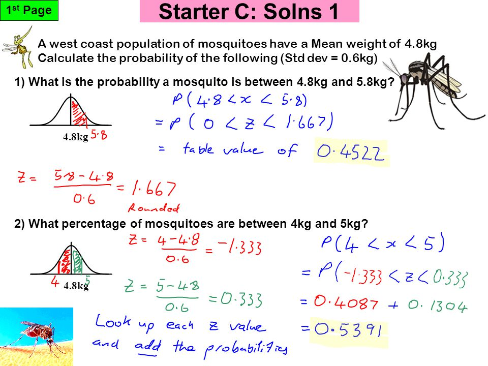 Starter C: Solns 1 4.8kg A west coast population of mosquitoes have a Mean weight of 4.8kg Calculate the probability of the following (Std dev = 0.6kg) 1 st Page 1) What is the probability a mosquito is between 4.8kg and 5.8kg.