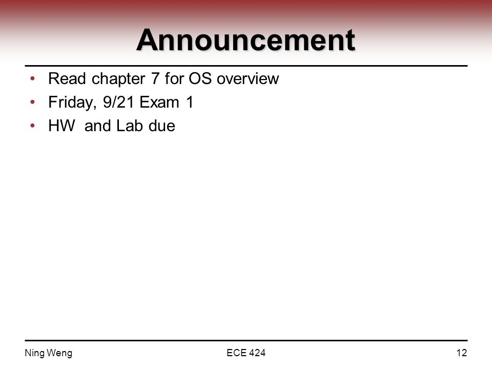 Announcement Read chapter 7 for OS overview Friday, 9/21 Exam 1 HW and Lab due Ning WengECE 42412